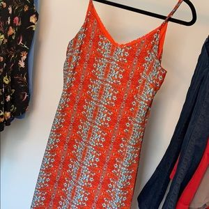 Maxi dress orange red and blue design.